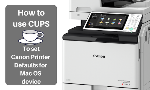 How to set default settings for a Canon printer using CUPS